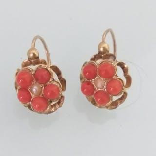 18 kt Gold, Authentische mediterrane Korallenperle Perle - Ohrringe, Uralt