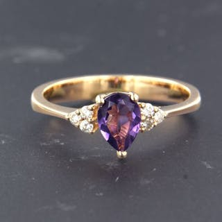 18 kt. Pink gold - Ring - 0.70 ct Amethyst - Diamond