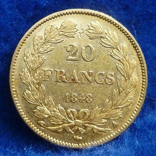 France - 20 Francs 1848-A Louis Philippe I - Gold