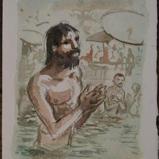 India Dreams T10 - Aquarelle originale - Bénarèsghât hommes