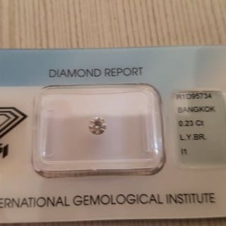 1 pcs Diamanti - 0.23 ct - Brillante - light Yellow brown - I1