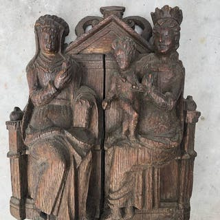 Sculpture, St Anna to Three (1) - Oak, Wood - 16th century