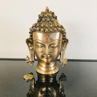 Schöner stattlicher kupferner Buddha Kopf - 18 cm - 2 kg...