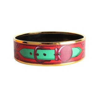 Hermès - Red Enamel Bangle Bracelet
