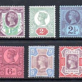 Großbritannien 1887/1892 - QV 1/2d - 1/- Jubilee Set- Stanley Gibbons 197 - 214