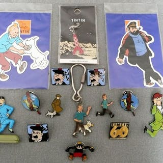 Tintin -Pin's Hergé Corner + porte clés + magnets +...