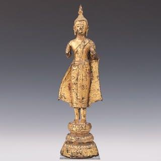 sculpture (1) - Gilt bronze - standing Buddha - Thailand - Late 19th century