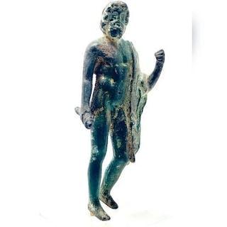 Ancient Roman Bronze Majestic Statuette of Jupiter Zeus - 8×2.5×1.5 cm