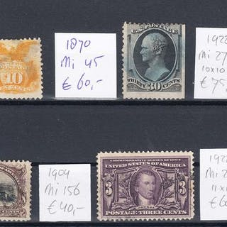 USA 1869/1922 - Classics selection - Michel 30 + 45 + 136 + 156 + 272C + 282A