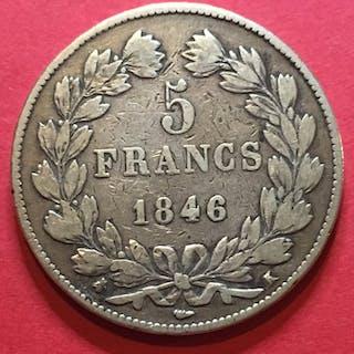 Frankreich - 5 Francs 1846-K (Bordeaux)Louis Philippe I lauré- Silber