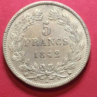 Frankreich - 5 Francs 1842-K (Bordeaux)Louis Philippe I lauré- Silber