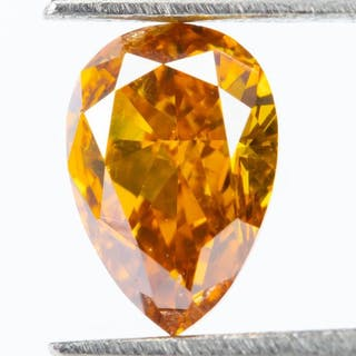 Diamond - 0.27 ct - Natural Fancy VIVID Yellow-Orange - SI1*NO RESERVE*