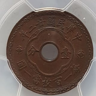China - 1 Cent - Republic of China, Year 22 (1933)- Copper