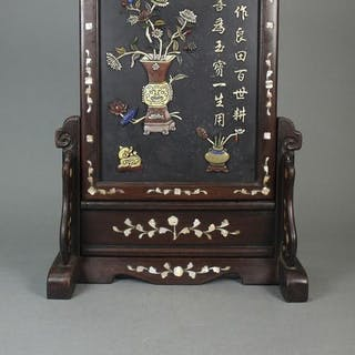 Table screen - soft stone - China - Early 20th century