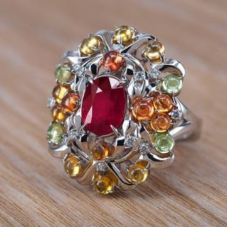 14 kt. White gold - Ring - 3.05 ct Ruby - Diamonds