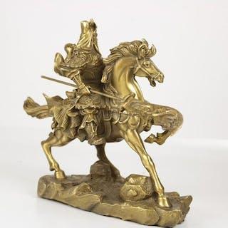 schönes Guandi / Guangong Bild auf Pferd - Bronze - China - 21. Jahrhundert