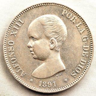 España - 5 Pesetas - 1891 - Madrid - Alfonso XIII - PERFECTA - Plata