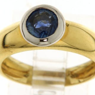 18 kt. Bicolour, White gold, Yellow gold - Ring - 1.00 ct Sapphire