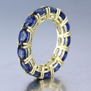 18kt yellow gold - ring - 6.40 ct sapphire
