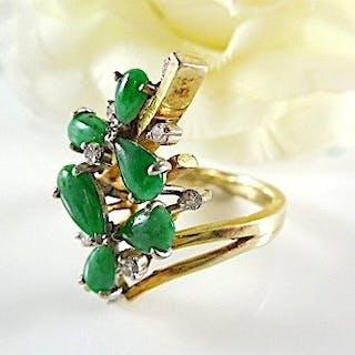 14 kt. Yellow gold - Ring - 1.25 ct Jade - Diamond