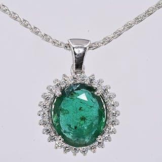 18 quilates Oro blanco - Collar - 6.32 ct Esmeralda - Diamantes