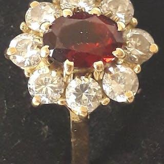 18 kt Gelbgold - Französischer antiker 18k Gold Granat Cluster Ring