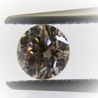 1 pcs Diamond - 0.70 ct - Round - U-V [GIA certificate] - light brown - VVS2