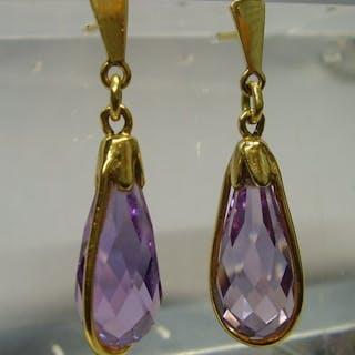 """bezeichnet """"Unikat"""" - 14 kt. Yellow gold - Earrings - 15.00 ct Amethyst"""