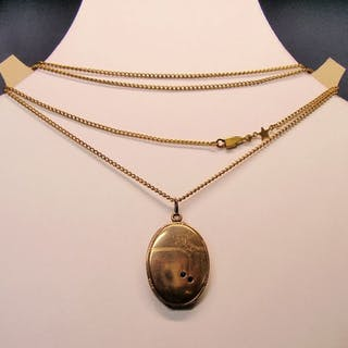 8 kt Schaumgold /Golddoublé - Anhänger, Halskette - 0.10 ct Verneuil-Saphire