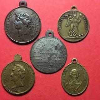 Francia - Lot de 5 médailles de propagande de la Révolution de 1848