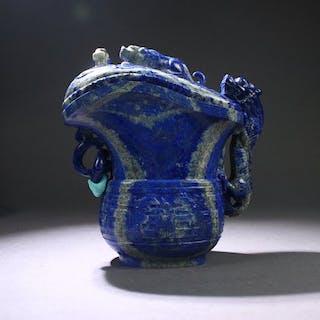 Rhyton - Lapis Lazuli - A LAPIS LAZULIDRAGON RHYTON - China - Late 20th century