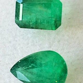 2 pcs grün Smaragd - 1.86 ct