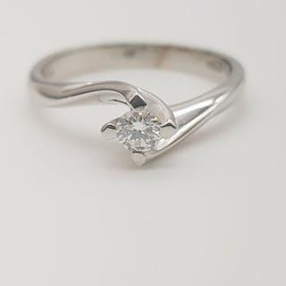 HRD no reserve price - 18 kt. White gold - Ring - 0.14 ct Diamond