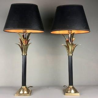 Coppia di lampade da tavolo Regency con foglie nere e oro - Reggenza