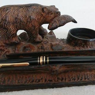 Encrier ours en bronze