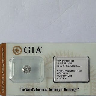 1 diamond - 1.15 ct - Brilliant - D (colourless) - VS1