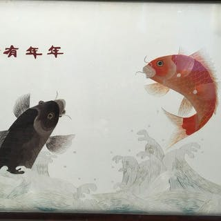 Raffinato ricamo di seta cinese - Seta - Cina - Seconda metà del 20° secolo