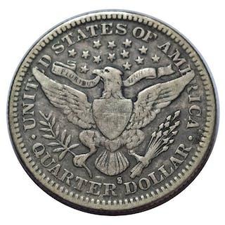 USA - 25 Cents (Barber Quarter) 1907- S San Francisco - Silber