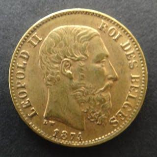 Belgium - 20Francs 1874 LEOPOLD II - Gold
