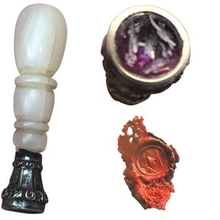 Unique wax stamp with an Amethyst seal - Mother of pearl, Silver - 19th century