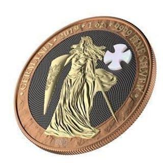 Alemania - 5 Mark 2019 GERMANIA Mother of Pearl Cross - 1 Oz ( - Plata
