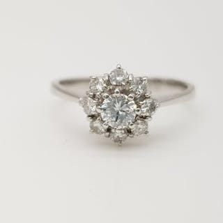 HRD no reserve price - 18 kt. White gold - Ring - 0.25 ct Diamond - Diamond