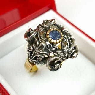 14 kt. Gold - Bourbon ring - 0.12 ct Sapphire - Diamonds