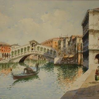 Unleserlich signiert - Gondolier vor der Rialtobrücke in Venedig