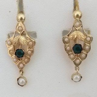 18 kt Gold, Onyx und Perlen Perle - Ohrringe