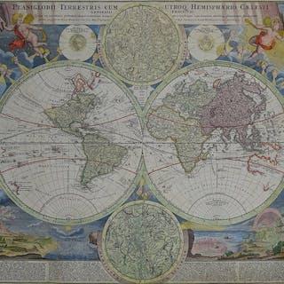 Welt, Double Hemisphere with Celestial models; Johann...