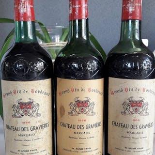 1966 Chateau Des Gravieres - Margaux Cru Bourgeois - 3 Flaschen (0,75 l)