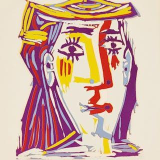 Portrait de Jacqueline au chapeau de paille multicolore (Portrait