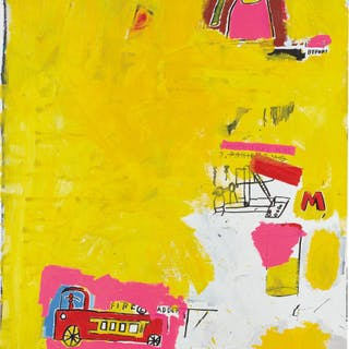 Pink Elephant with Fire Engine - Jean-Michel Basquiat