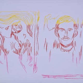 Madonna & Self-Portrait with Skeleton Arm (after Munch) - Andy Warhol